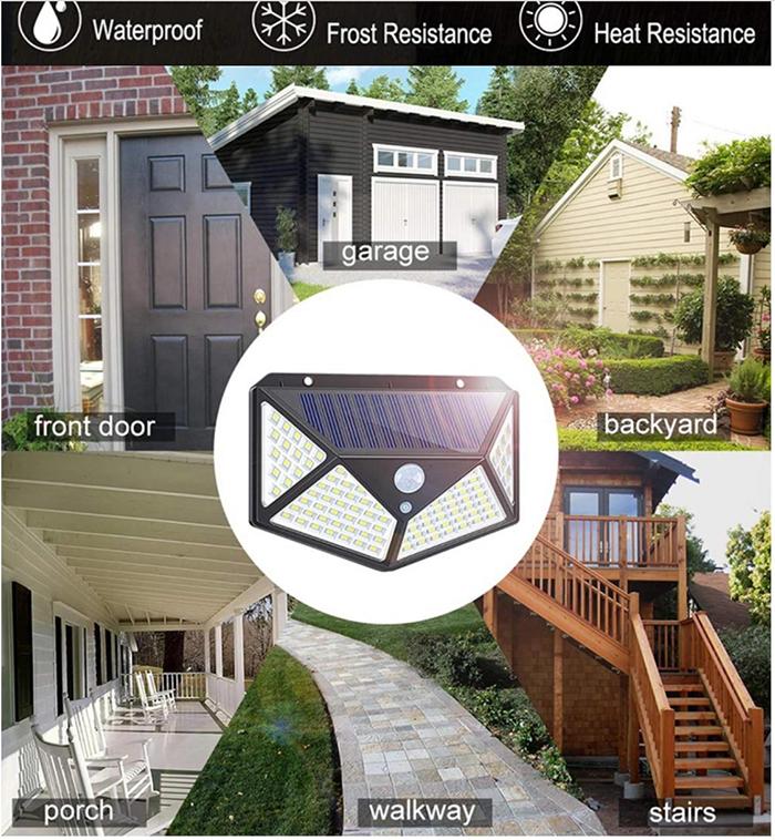 Đèn cảm biến chống trộm năng lượng mặt trời 100 LED